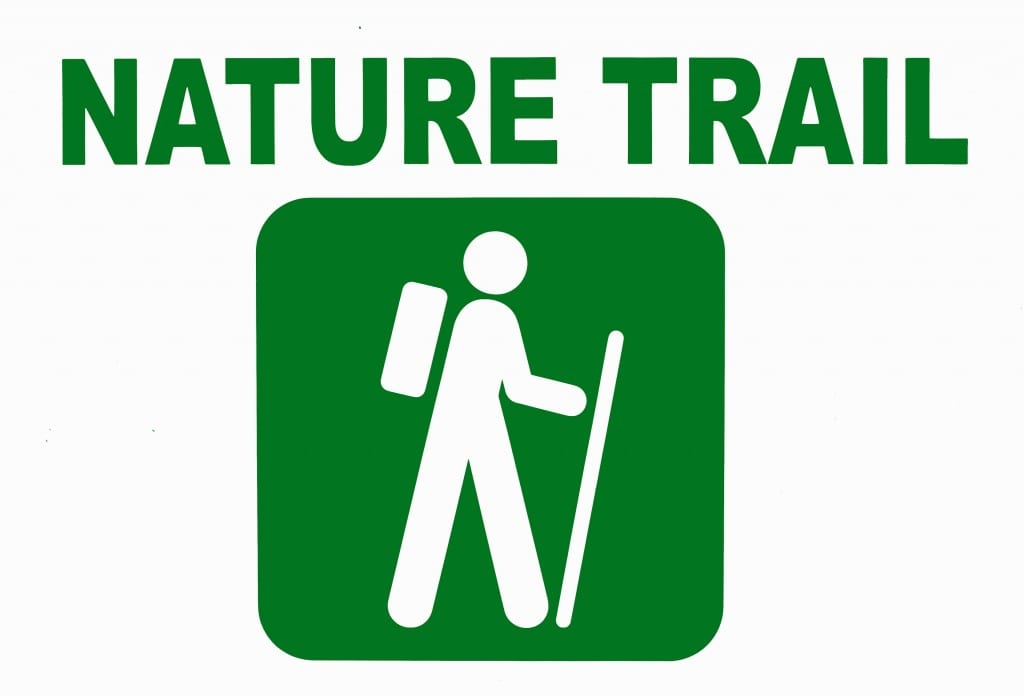 Nature trail sign with stick figure hiker